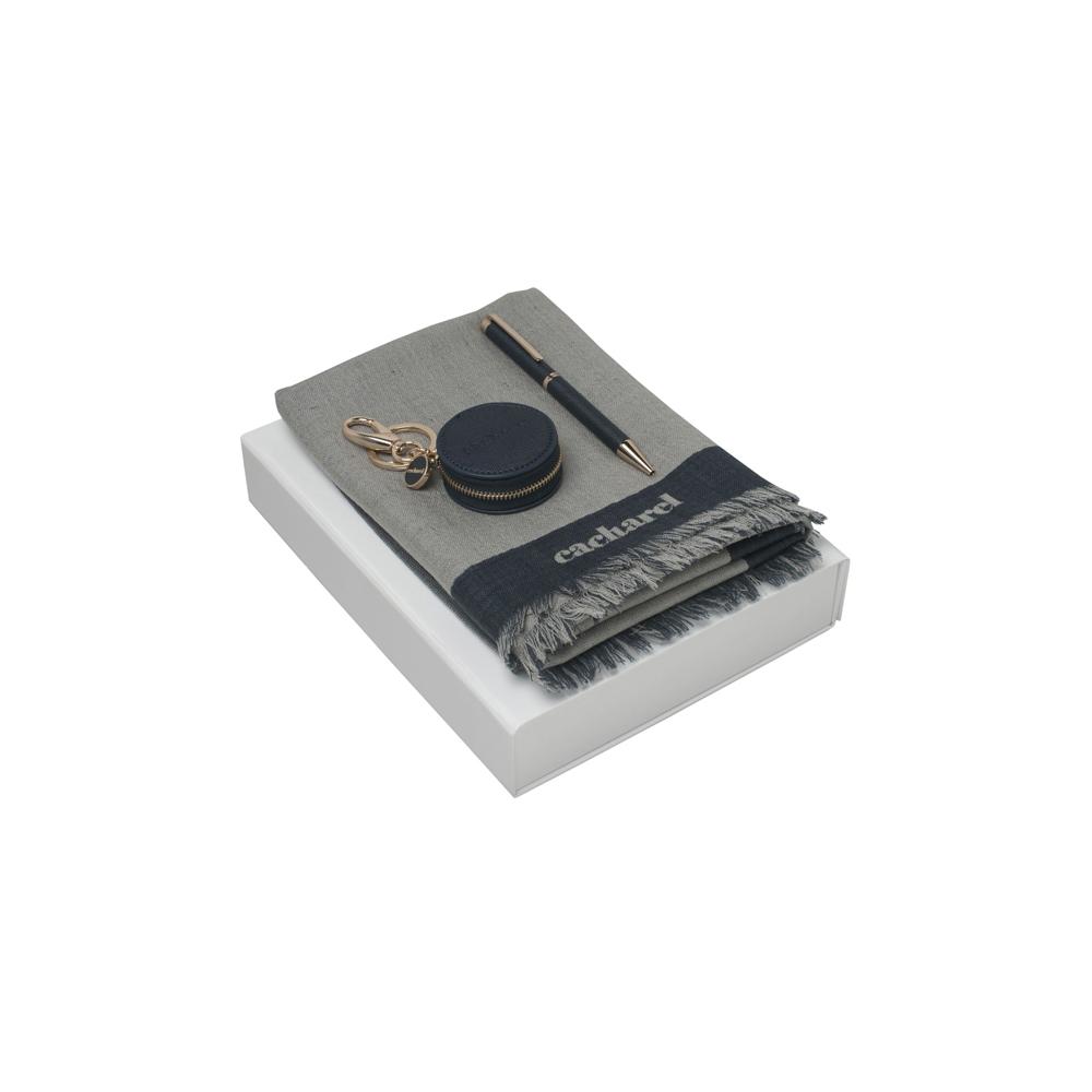 Kit cachecol, chaveiro e esferográfica