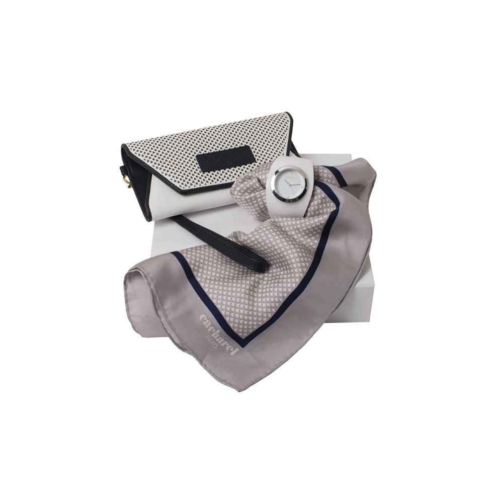 Kit lenço, bolsa e relógio
