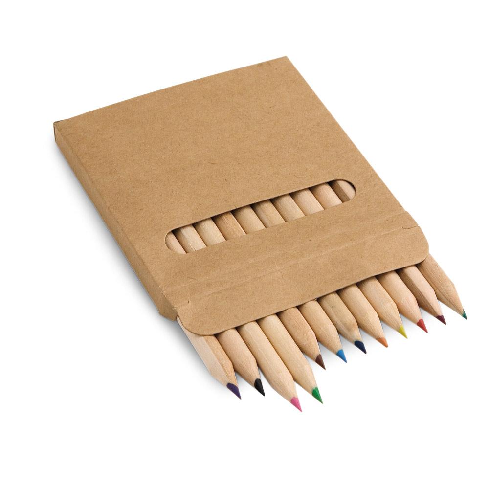 Caixa de cartão com 12 mini lápis de cor COLOURED-51747