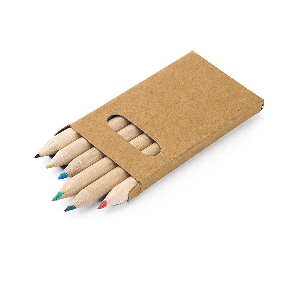Caixa de cartão com 6 mini lápis de cor BIRD-51750