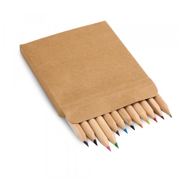 Caixa de cartão com 12 mini lápis de cor-91747