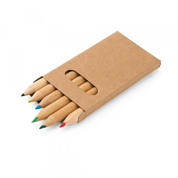 Caixa de cartão com 6 mini lápis de cor-91750