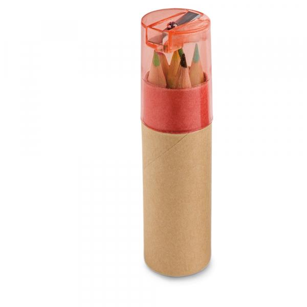 Caixa de cartão com 6 mini lápis de cor-91751