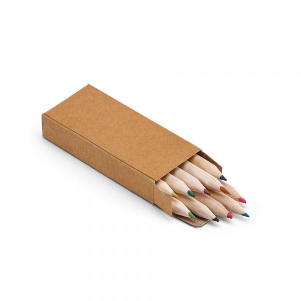 Caixa de cartão com 10 mini lápis de cor-91931