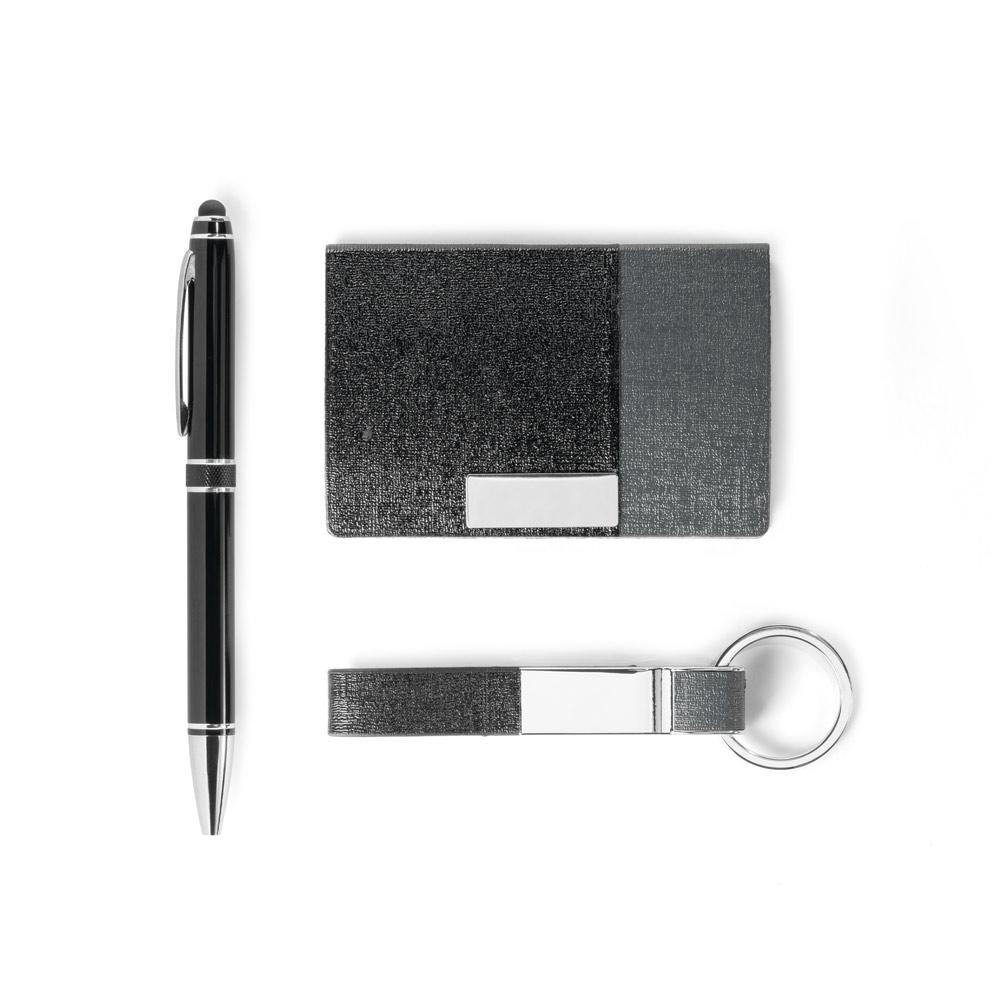 Kit de porta cartões, chaveiro e esferográfica-93315