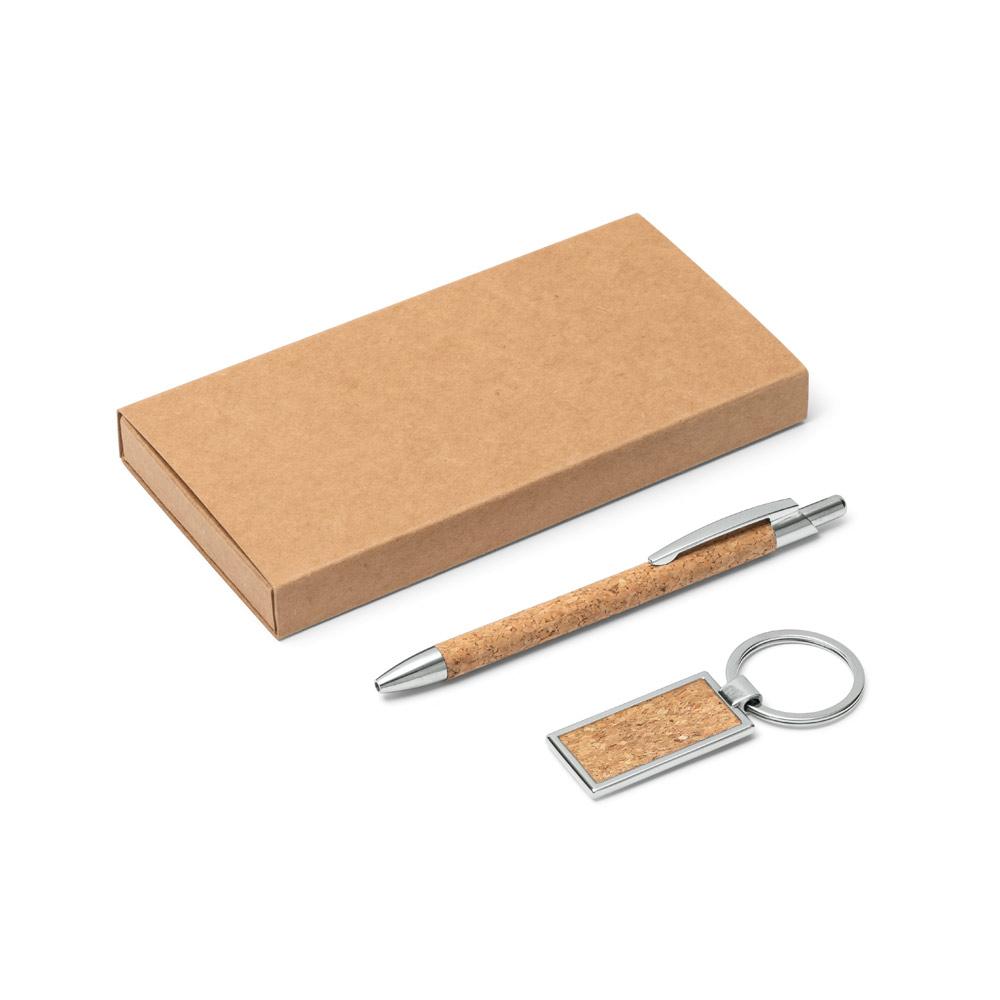 Kit esferográfica e chaveiro