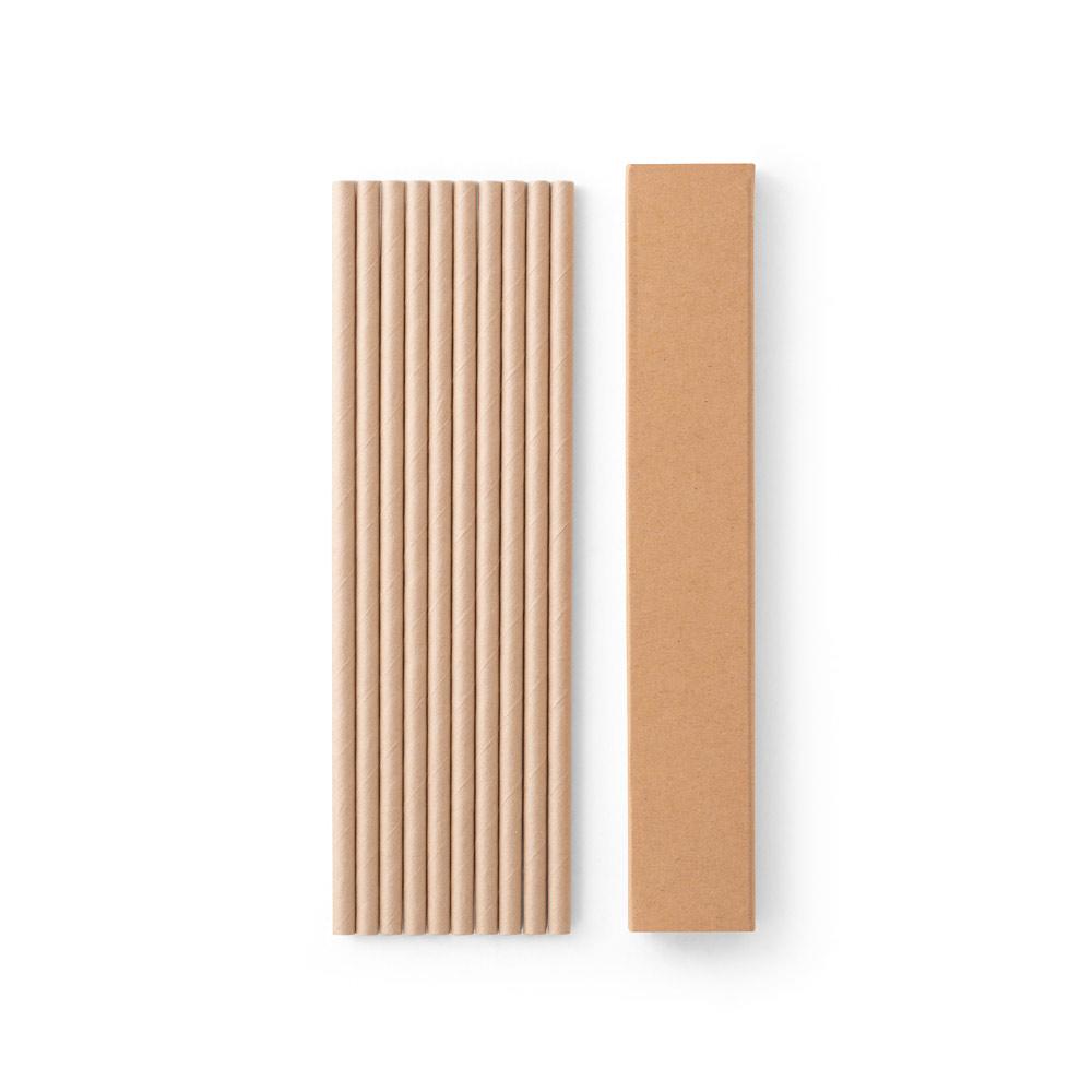 Conjunto de 10 canudos em papel kraft LAMONE