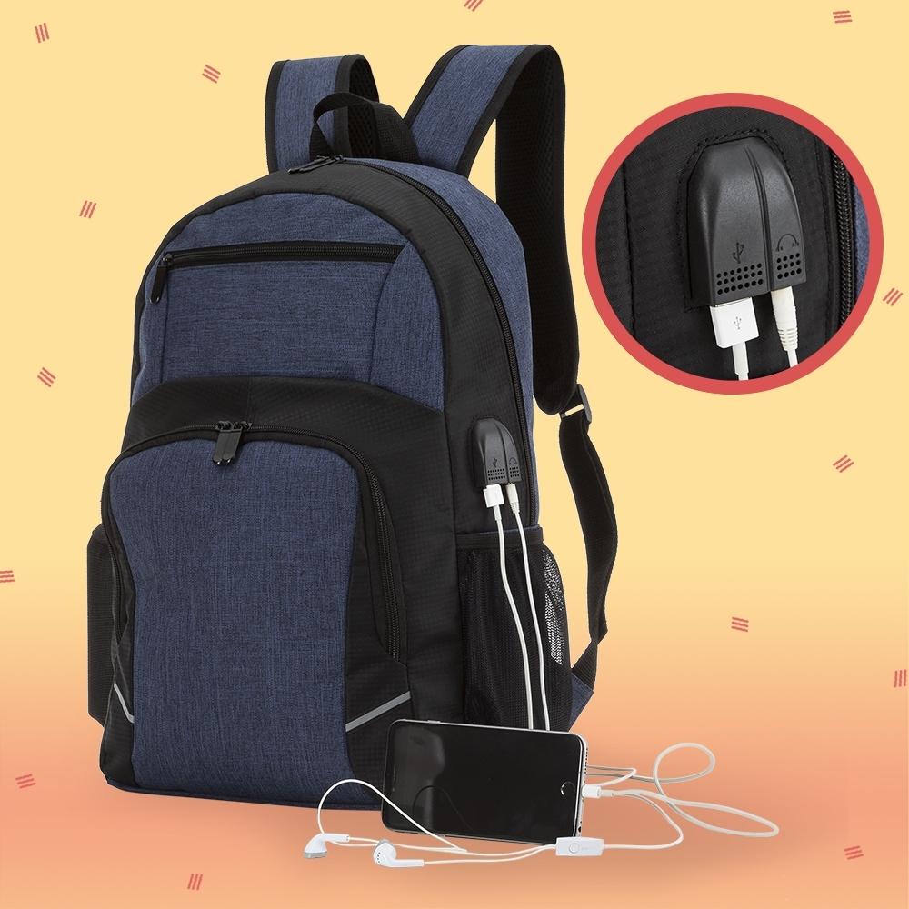 Mochila para Notebook com saída USB e Fone de ouvido