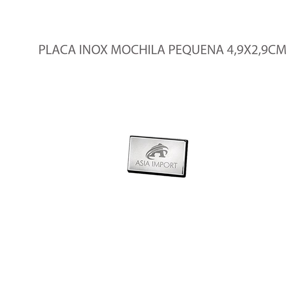 PLACA INOX MOCHILA PEQUENA 4,9X2,9CM